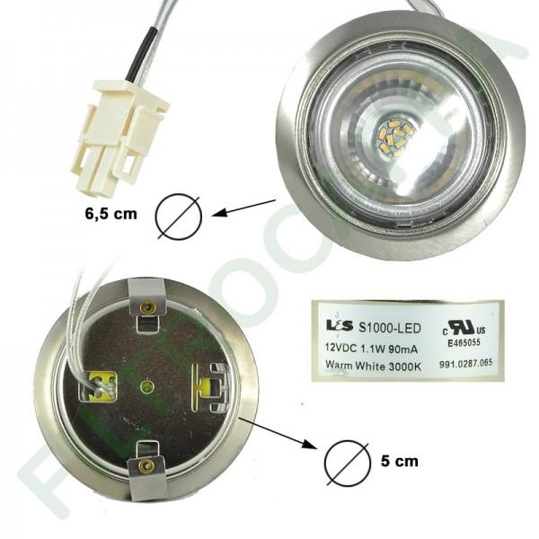 FARETTO LED 12 volt 1.1 WATT S1000 3000K SENZA LENTE DIAMETRO 6,5 CM
