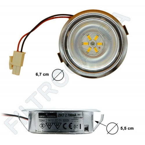 FARETTO CAPPE ELICA LED 2,1 WATT  3 v 3000 K 6 LED DIAMETRO 6,5 CM LMP0119462