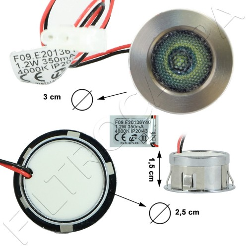 LED SPOTLIGHT 3 CM DIAMETER 1,2 W 4000 K WHITE LIGHT FOR COOKER HOODS FALMEC 105040232