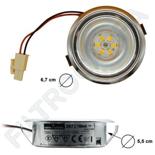 FARETTO CAPPE ELICA LED 2,1 WATT  3 v 3500 K 6 LED SENZA LENTE DIAMETRO 6,5 CM LMP0139553