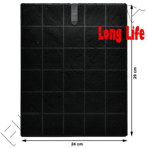 FILTRO CARBONE LONG LIFE 28,5 x 23,5 CM SPESSORE 1 CM AIRONE SMEG FOSTER 9700400 ACFCRETT29X24X1001