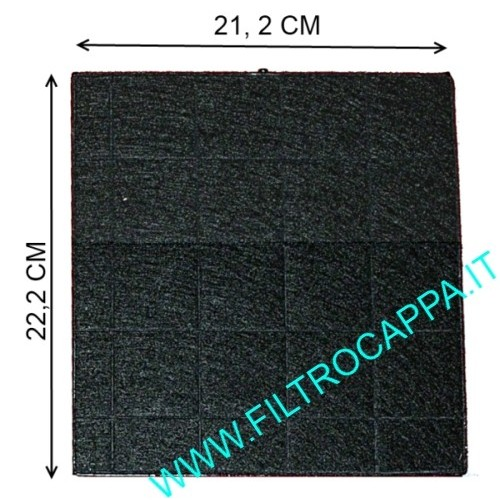 FILTRO CARBONE ATTIVO 21,2 X 22,2 CM CAPPE ASPIRANTI SMEG FIM KAPPE FALMEC
