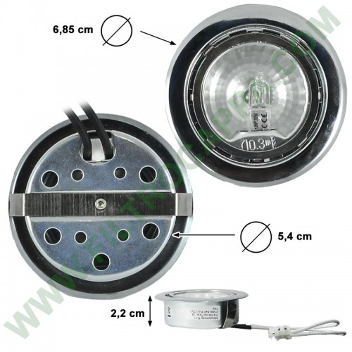 TRANSPARENT GLASS HALOGEN SPOTLIGHT 12 V 20 W ELECTROLUX MAX FIRE 50268463002
